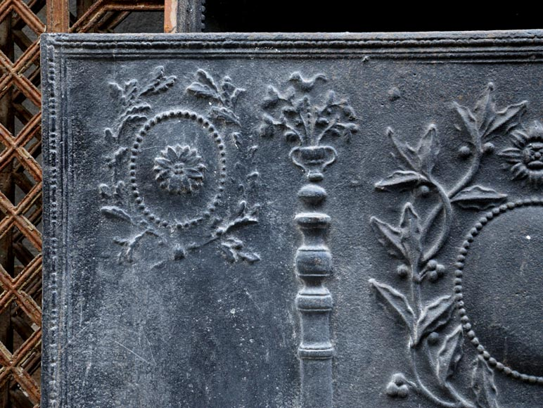 Large antique cast iron fireback with pillars of Hercules and Louis XVI style laurel branches-2