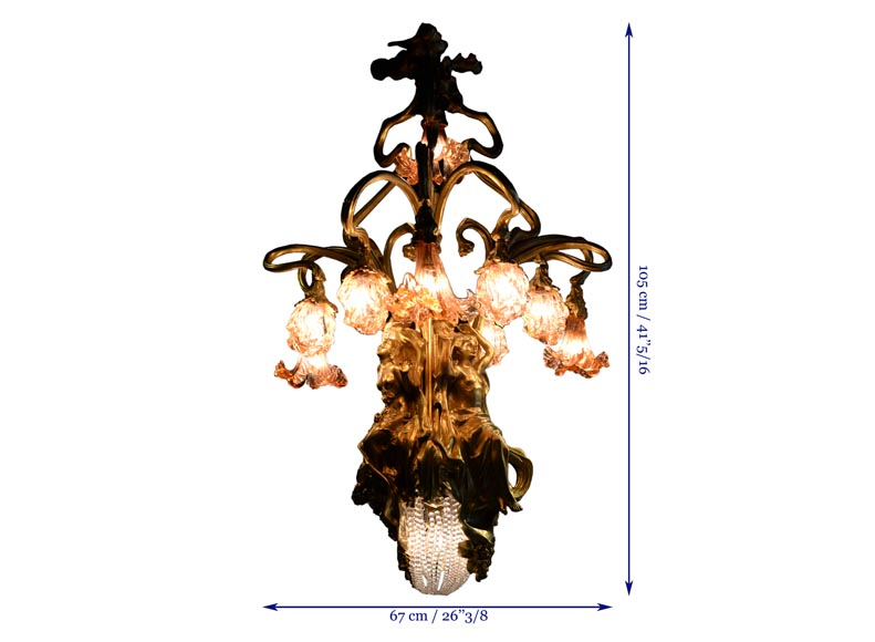 Beautiful antique Art Nouveau style chandelier in gilt bronze and molded glass with languid bodies and nine lights-11