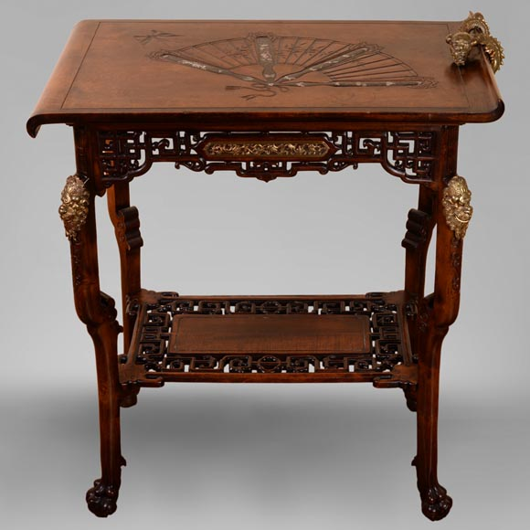 Gabriel VIARDOT(1830-1906) - Small Japanese style table with fan-0