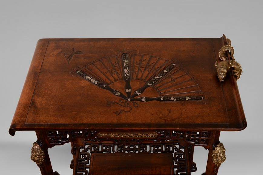 Gabriel VIARDOT(1830-1906) - Small Japanese style table with fan-3