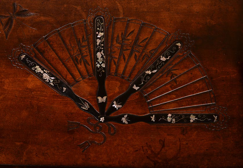 Gabriel VIARDOT(1830-1906) - Small Japanese style table with fan-4