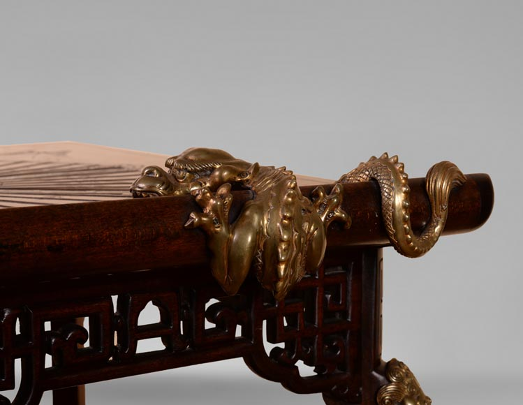 Gabriel VIARDOT(1830-1906) - Small Japanese style table with fan-9
