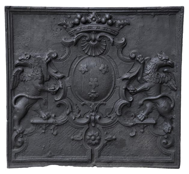 Beautiful antique cast iron fireback with the Jannon family coat of arms, 18th century  - Reference 10883