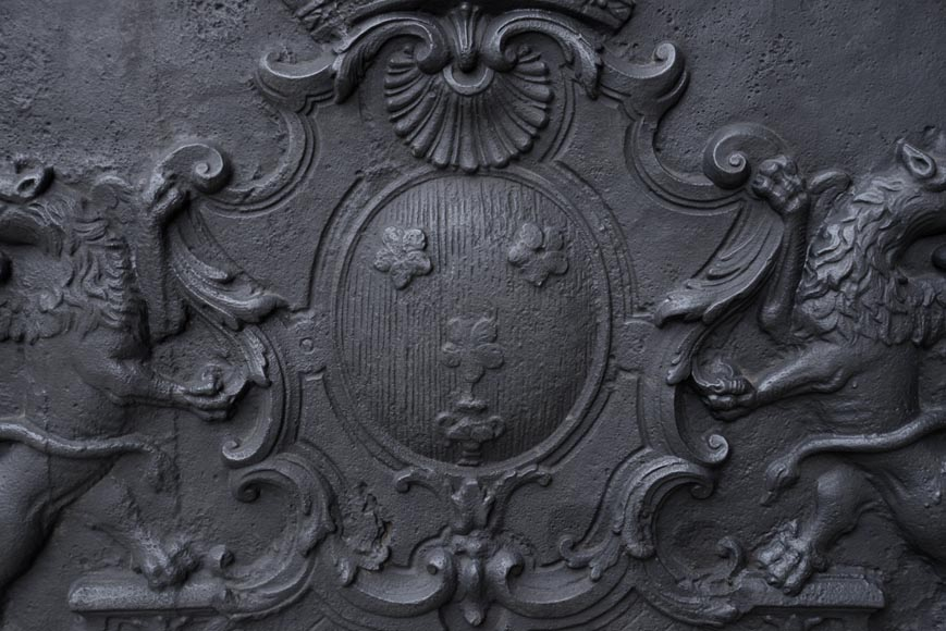 Beautiful antique cast iron fireback with the Jannon family coat of arms, 18th century -1