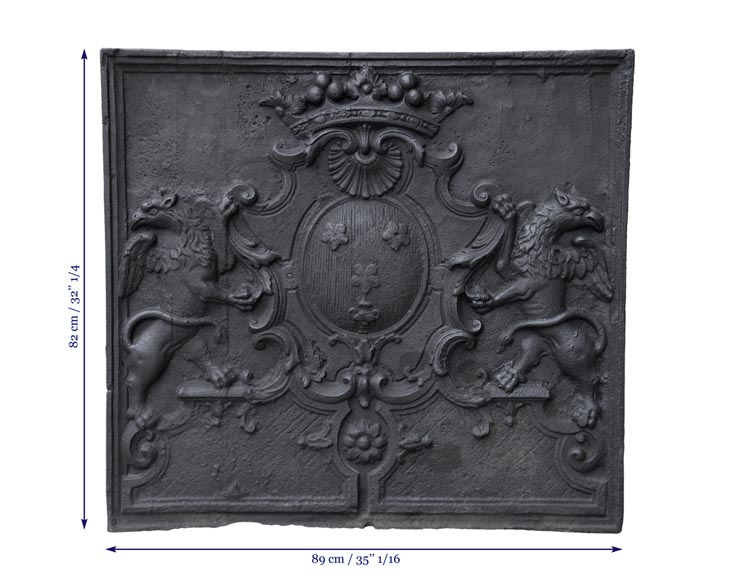 Beautiful antique cast iron fireback with the Jannon family coat of arms, 18th century -7