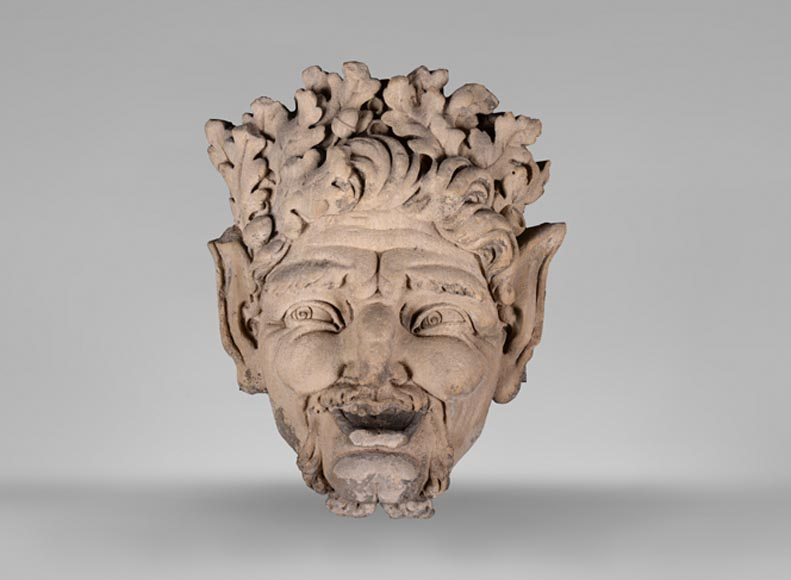 Large fountain mask in stone with a satyr, early 19th century-0