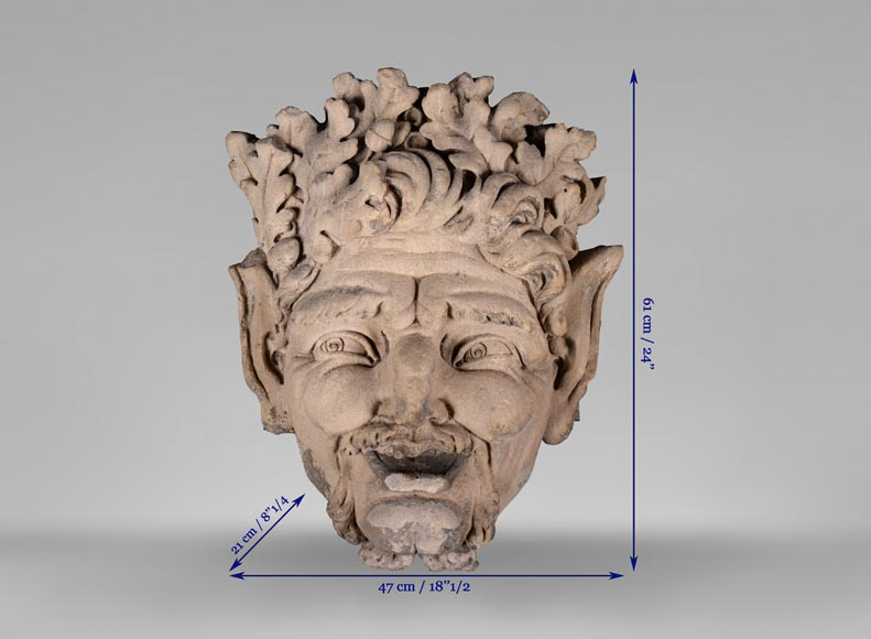 Large fountain mask in stone with a satyr, early 19th century-6