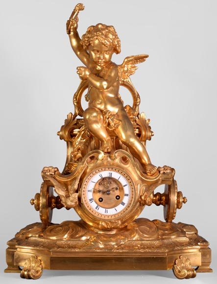 Cupid on a chariot, Napoleon III style clock in gilded bronze-0