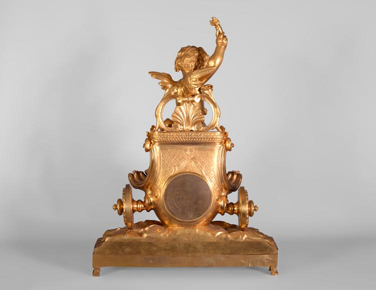 Cupid on a chariot, Napoleon III style clock in gilded bronze-8