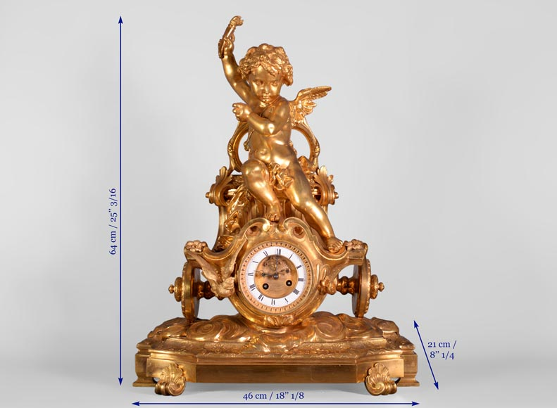 Cupid on a chariot, Napoleon III style clock in gilded bronze-9