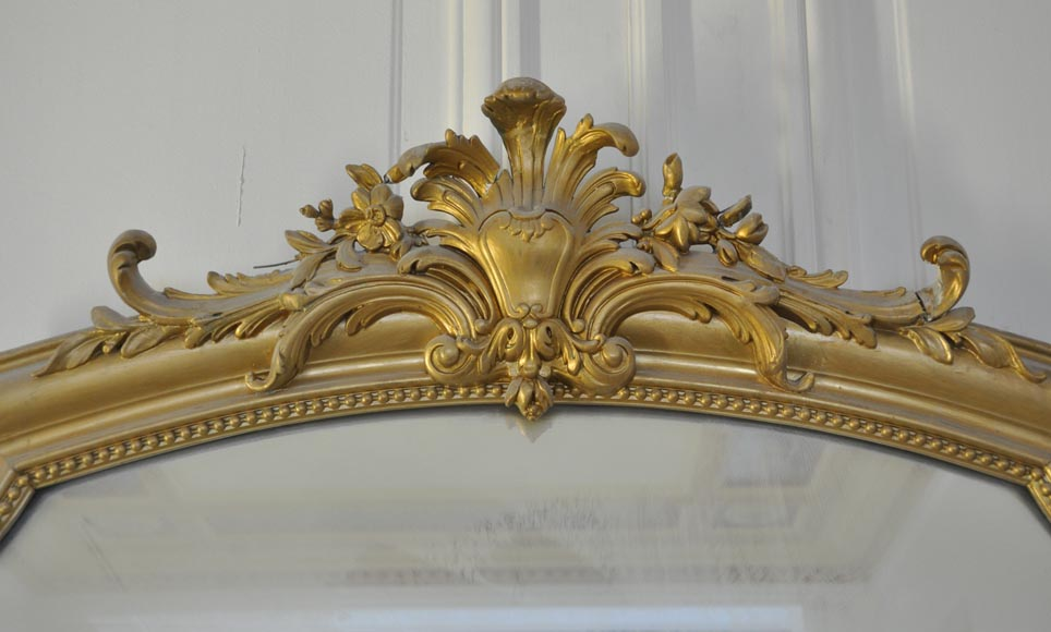 Antique small Louis XV style overmantel pierglass with pearls-1