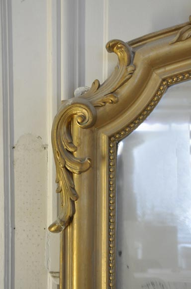 Antique small Louis XV style overmantel pierglass with pearls-2