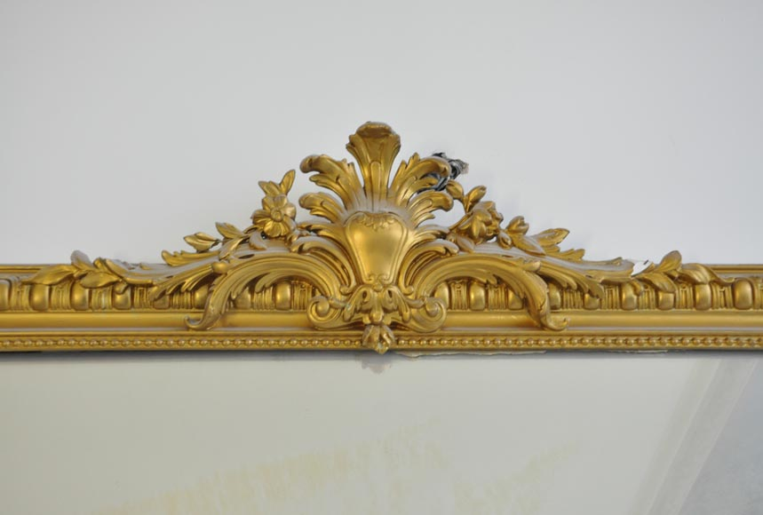 Antique Regence style overmantel pierglass painted in gold with shell and flowers-1