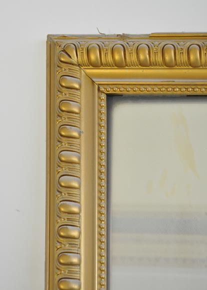 Antique Regence style overmantel pierglass painted in gold with shell and flowers-2