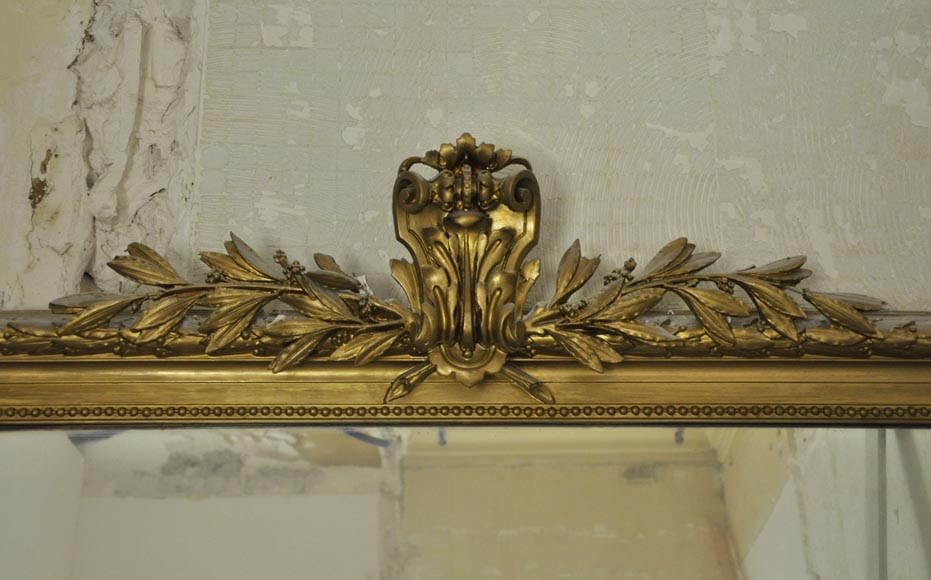 Antique Louis XVI style overmantel pierglass, golden paint-1