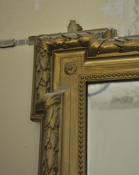 Antique Louis XVI style overmantel pierglass, golden paint-3