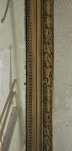 Antique Louis XVI style overmantel pierglass, golden paint-4
