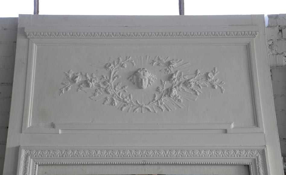 Antique white Louis XVI style overmantel pierglass with solar mask and flowers-1