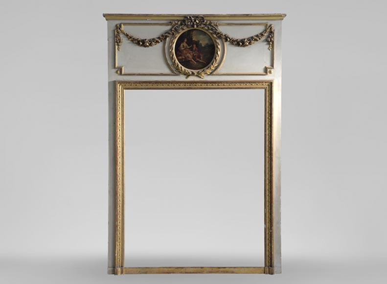 Antique Louis XVI style overmantel pierglass, painted and gilded decor, decorated with a gallant scene painting in medallion - Reference 10901