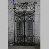 Antique Art Deco wrought iron door with fruit basket, 1930s