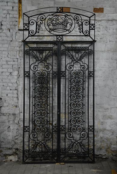 Antique Art Deco wrought iron door with fruit basket, 1930s-0