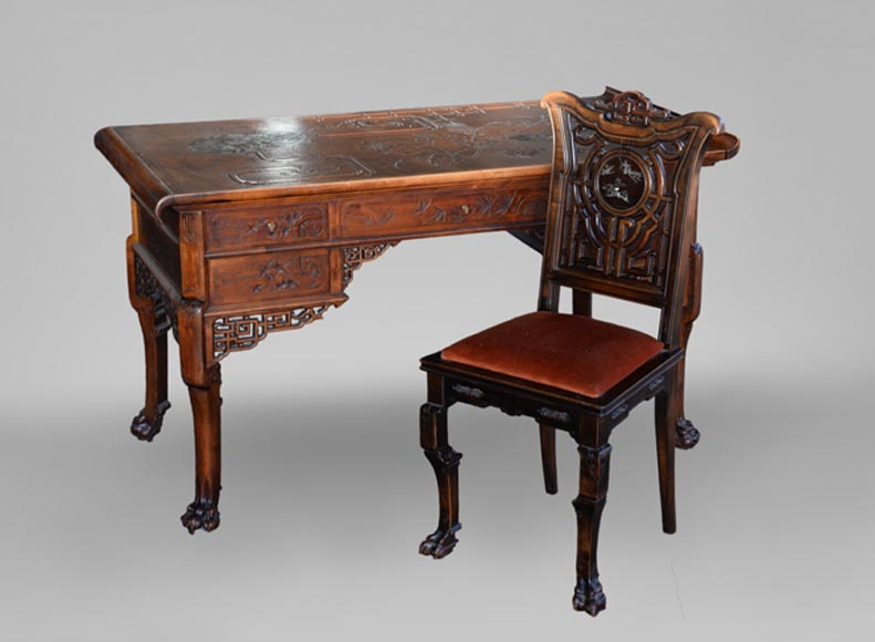 Gabriel VIARDOT (1830-1906) - Japanese style desk with mother-of-pearl decoration and its chair-0