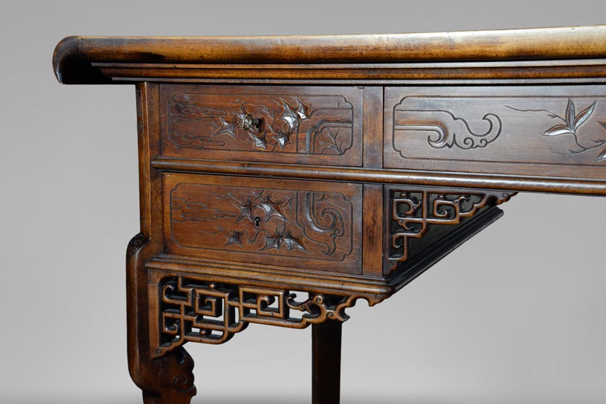 Gabriel VIARDOT (1830-1906) - Japanese style desk with mother-of-pearl decoration and its chair-5