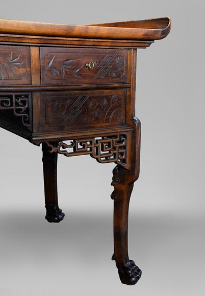 Gabriel VIARDOT (1830-1906) - Japanese style desk with mother-of-pearl decoration and its chair-6
