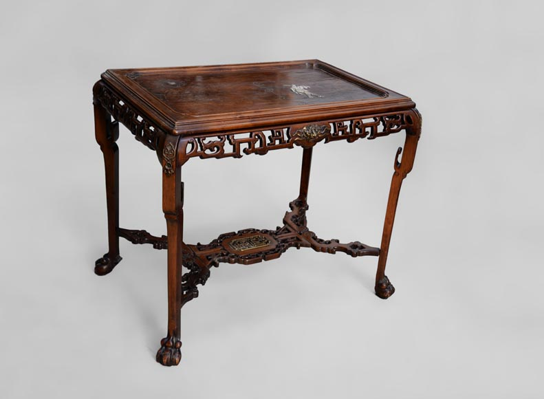 Japanese style table, openwork wooden friezes, top decorated with a bone hunter-1