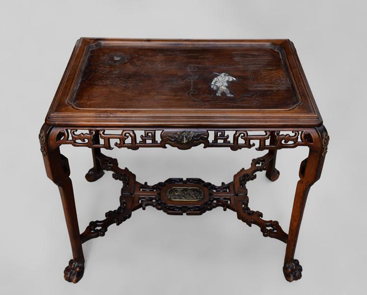 Japanese style table, openwork wooden friezes, top decorated with a bone hunter-2