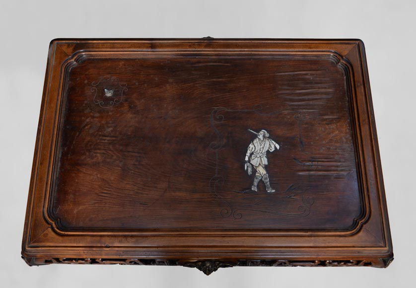 Japanese style table, openwork wooden friezes, top decorated with a bone hunter-3