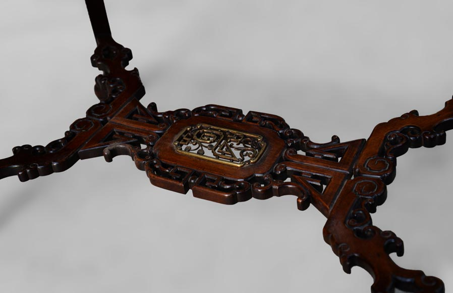 Japanese style table, openwork wooden friezes, top decorated with a bone hunter-7