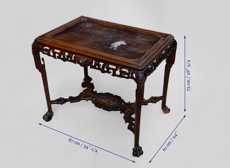 Japanese style table, openwork wooden friezes, top decorated with a bone hunter-8