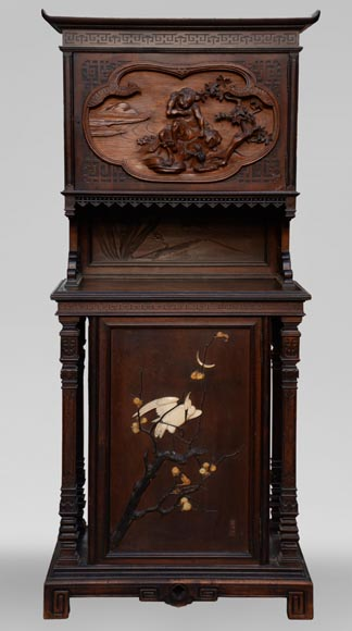 Small Japanese style furniture with carved decoration and inlay of mother-of-pearl and ivory-0