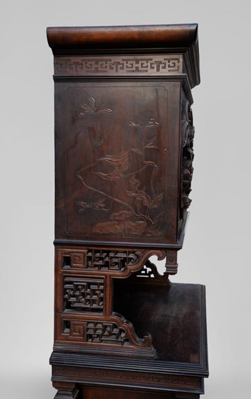 Small Japanese style furniture with carved decoration and inlay of mother-of-pearl and ivory-7