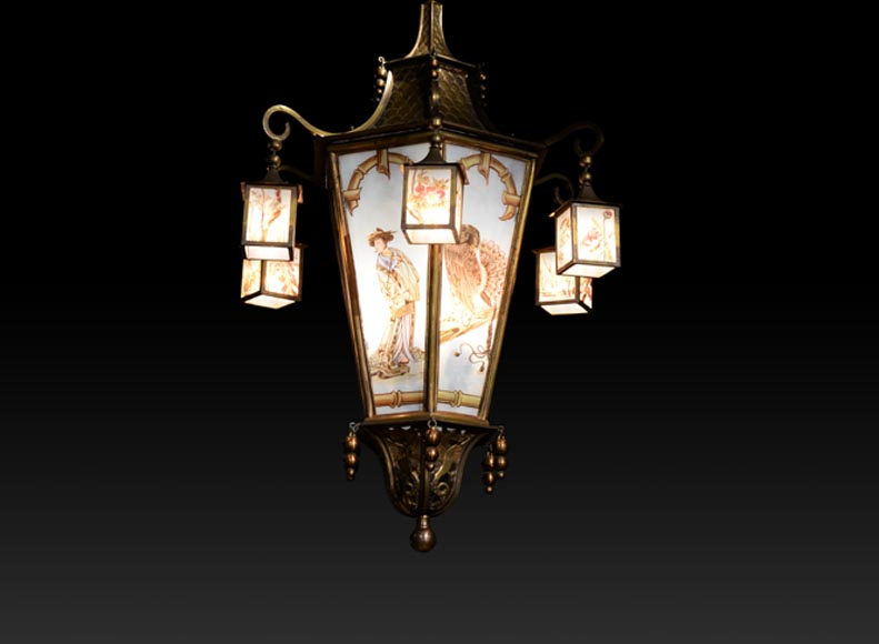 Beautiful Japanese-inspired bronze chandelier with six lanterns and stained-glass-0