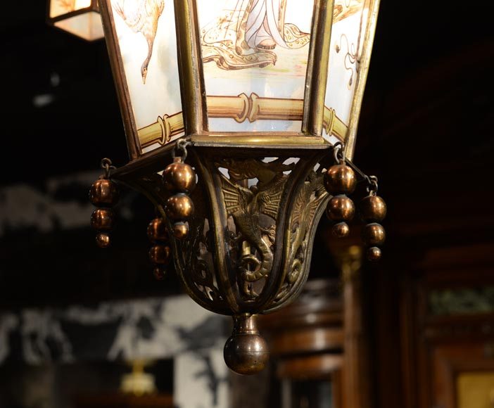 Beautiful Japanese-inspired bronze chandelier with six lanterns and stained-glass-5