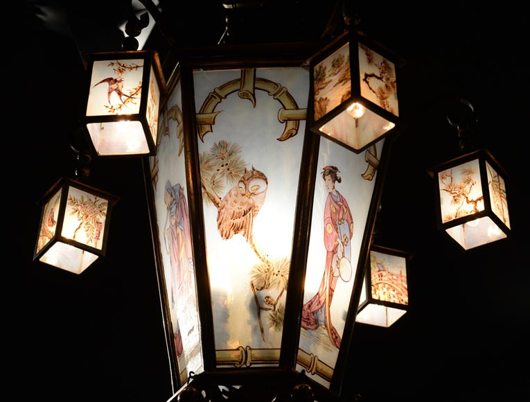 Beautiful Japanese-inspired bronze chandelier with six lanterns and stained-glass-7