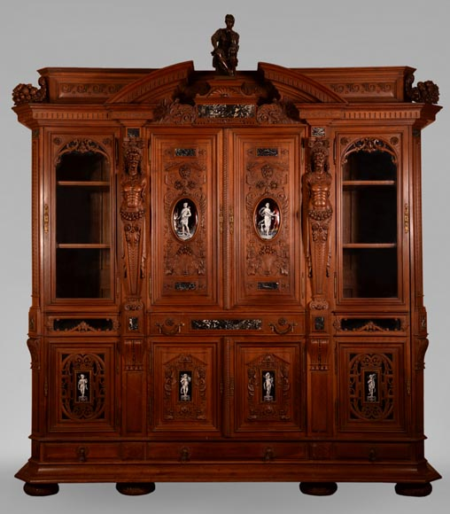 Large Neo-Renaissance style walnut cabinet -  Painted enamels signed by Theophile Soyer (1853-1940)-0