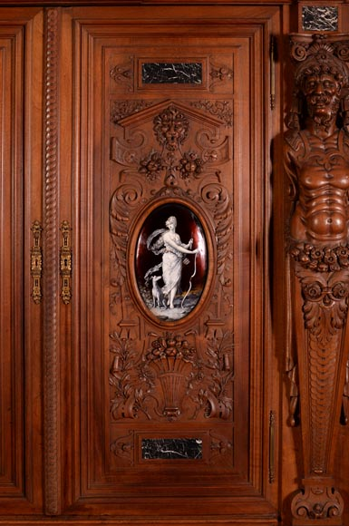 Large Neo-Renaissance style walnut cabinet -  Painted enamels signed by Theophile Soyer (1853-1940)-1