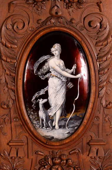 Large Neo-Renaissance style walnut cabinet -  Painted enamels signed by Theophile Soyer (1853-1940)-2