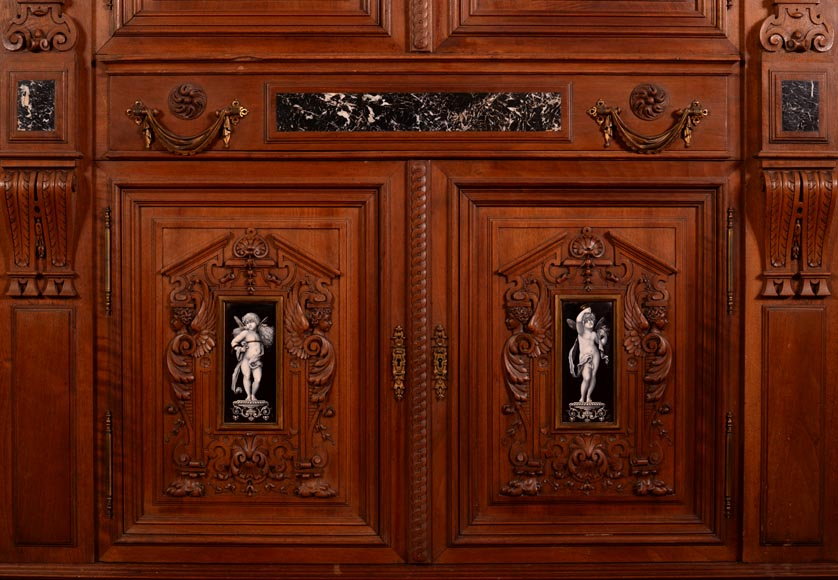 Large Neo-Renaissance style walnut cabinet -  Painted enamels signed by Theophile Soyer (1853-1940)-6