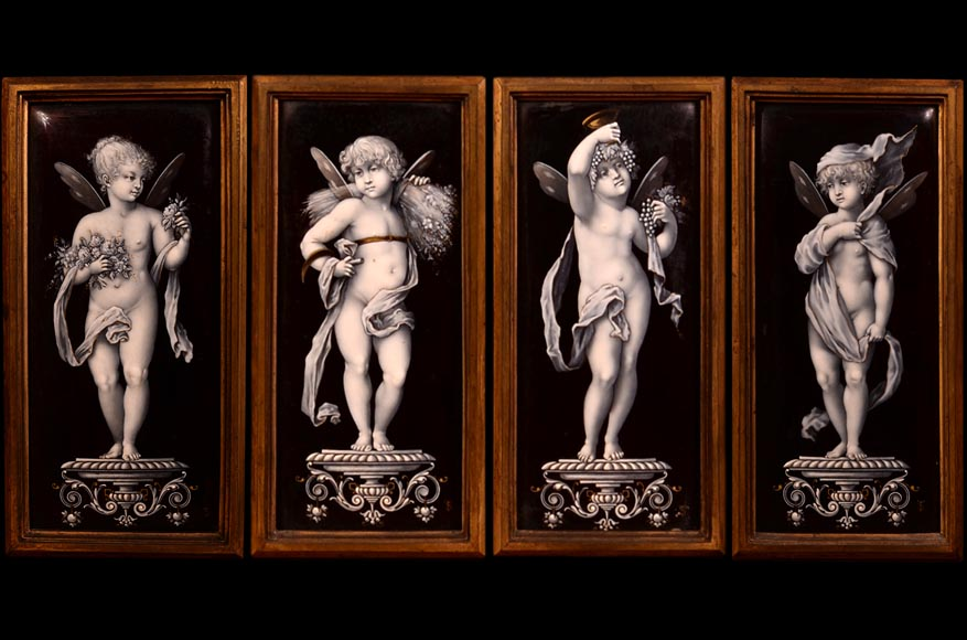 Large Neo-Renaissance style walnut cabinet -  Painted enamels signed by Theophile Soyer (1853-1940)-8