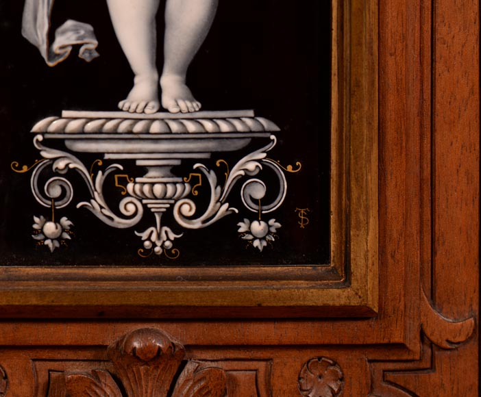 Large Neo-Renaissance style walnut cabinet -  Painted enamels signed by Theophile Soyer (1853-1940)-9