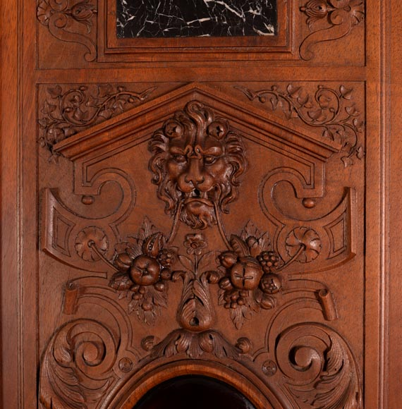 Large Neo-Renaissance style walnut cabinet -  Painted enamels signed by Theophile Soyer (1853-1940)-13