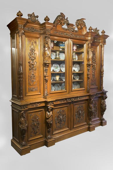 Richly carved Neo-Renaissance style buffet-1