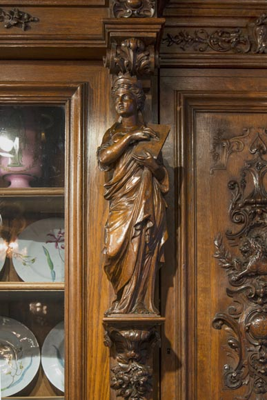Richly carved Neo-Renaissance style buffet-9