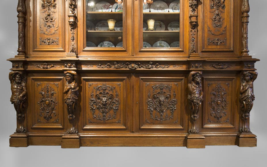 Richly carved Neo-Renaissance style buffet-12