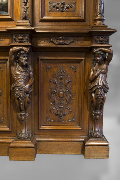 Richly carved Neo-Renaissance style buffet-17