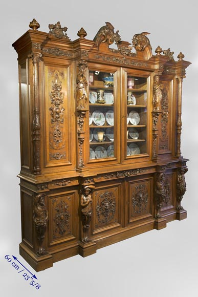 Richly carved Neo-Renaissance style buffet-20